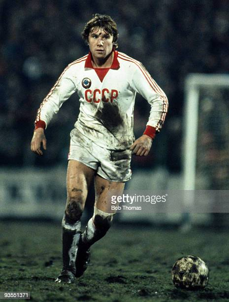 Anatolis Demjanenko of the USSR in action during the World Cup Qualifying match between Czechoslovakia and the USSR held at Tehelne Pole Stadium in...