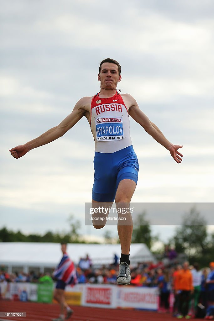 Anatoliy Ryapolov of Russia competes during the Men's Long Jump final at Ekangen Arena on July 17, 2015 in Eskilstuna, Sweden.