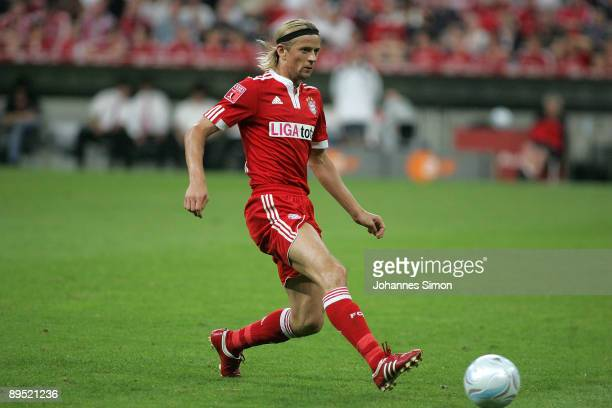 Anatoliy Tymoshchuk of Bayern in action during the Audi Cup tournament final match FC Bayern Muenchen v Manchester United at Allianz Arena on July 30...