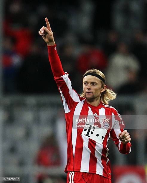 Anatoliy Tymoshchuk of Bayern Muenchen celebrates his first goal during the Champions League Group E match between FC Bayern Muenchen and FC Basel at...