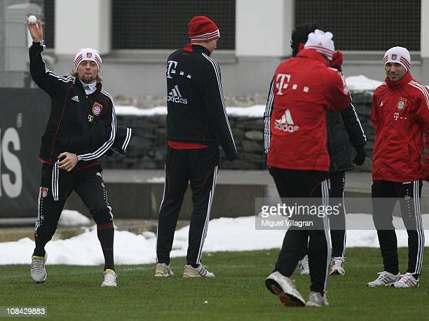Anatoliy Tymoshchuk throws a snowball during the FC Bayern Muenchen training session at Bayern's training ground 'Saebener Strasse' on January 27...