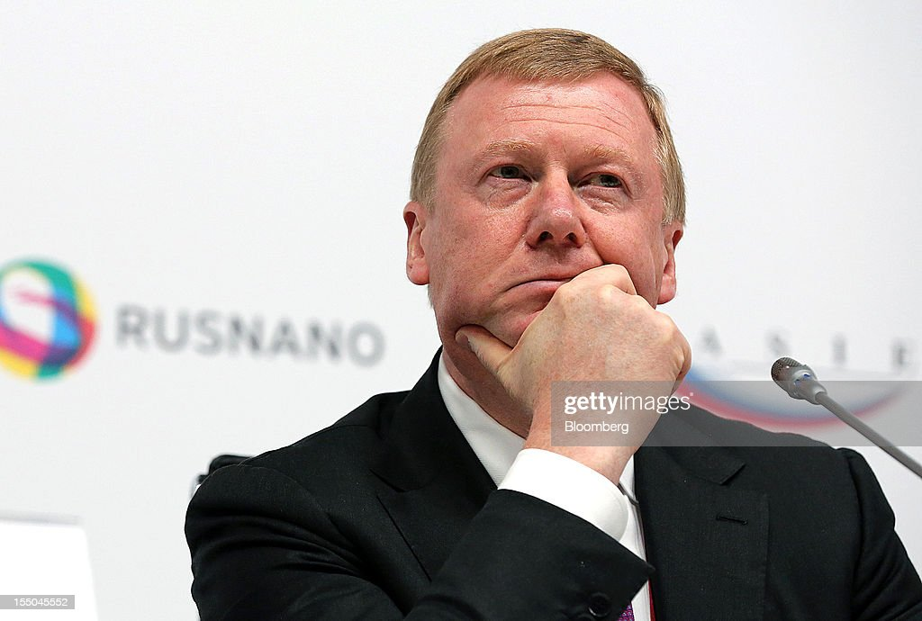 Anatoly Chubais, chief executive officer of OAO Rusnano, pauses during a session on the first day of the Open Innovations International Forum for Innovative Development in Moscow, Russia, on Wednesday, Oct. 31, 2012. The Forum brings together representatives from business, the authorities, and sciences, to share experiences and analyse fundamental global trends. Photographer: Andrey Rudakov/Bloomberg via Getty Images
