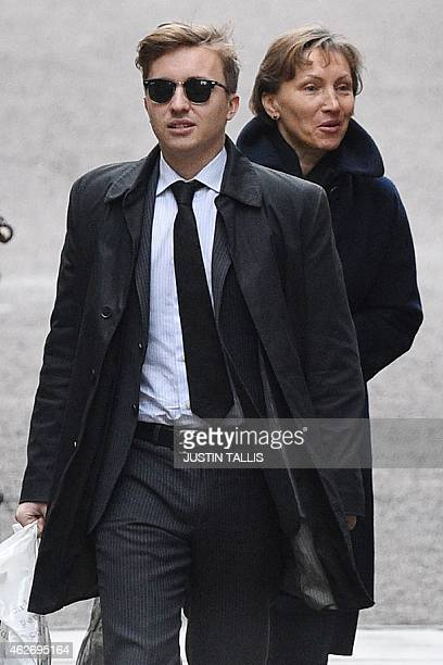 Anatoly Litvinenko son of Russian former spy Alexander Litvinenko and his mother Marina arrive at the Royal Courts of Justice in London on February 3...