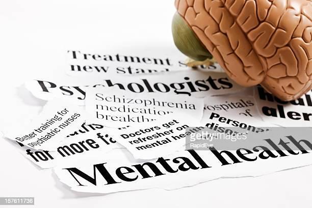 Anatomical model of human brain on mental health headlines