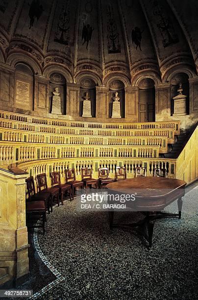 Anatomical theatre or Scarpa Hall architect Leopoldo Pollack , University of Pavia, Lombardy, Italy.