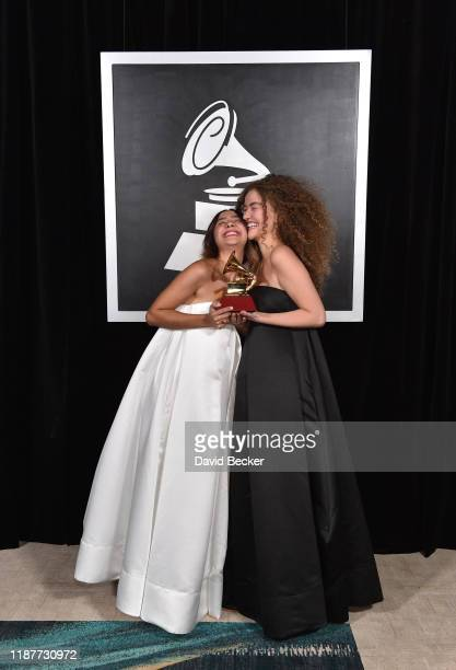 Anavitoria pose with award for Best Portuguese Language Contemporary Pop Album backstage at the Premiere Ceremony during the 20th annual Latin GRAMMY...