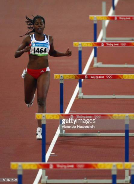 Anay Tejeda of Cuba misses a hurdle during in the Women's 100m Hurdles Semi Final at the National Stadium on Day 10 of the Beijing 2008 Olympic Games...