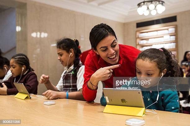 Anaya Jefferson a third grade student from PS 57 James Weldon Johnson Leadership Academy learns how to code at an Apple Store through Apple's Hour of...