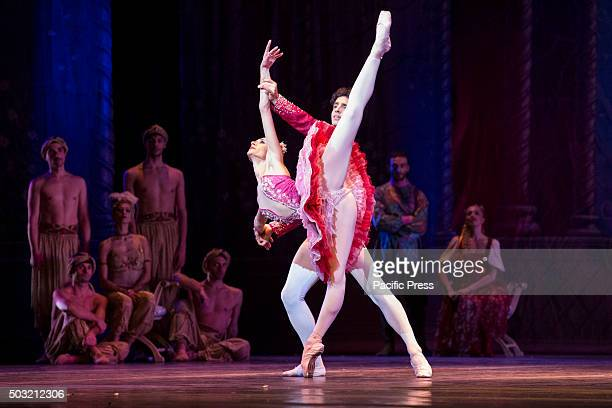 Anbeta Toromani and Alessandro Macario dance in 'Teatro San Carlo' of Naples during ' a ballet called 'The Nutcracker' with the music of Pëtr Il'i...