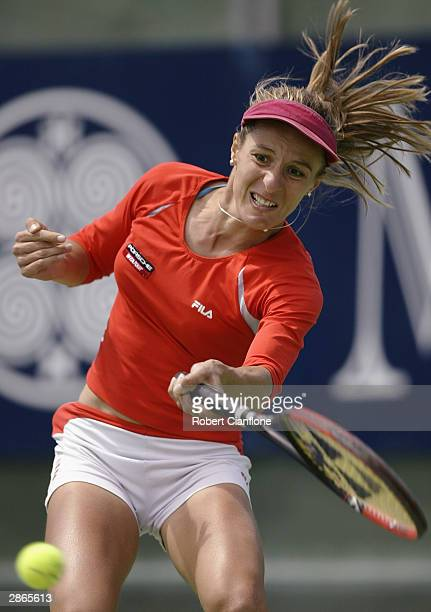 Anca Barna of Germany in action in her quarter finals match against Ma Emilia Salerni of Argentina during the Moorilla International at the Domain...