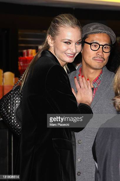 Anca Radici and Frederic Chau attend the 'Halal Police d'etat' premiere at UGC Cine Cite Bercy on February 15 2011 in Paris France