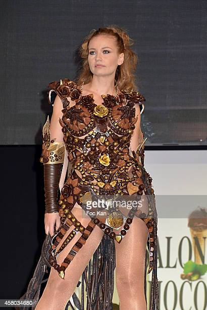Anca Radici attends the 'Salon Du Chocolat Chocolate Fair 20th Anniversary' At the Parc des Expositions Porte de Versailles on October 28 2014 in...