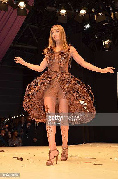 Anca Radici dressed by Jean Claude Jeanson walks the runway during the Salon Du Chocolat 2011 Ð Soiree dÕInauguration at Parc des Expositions Porte...