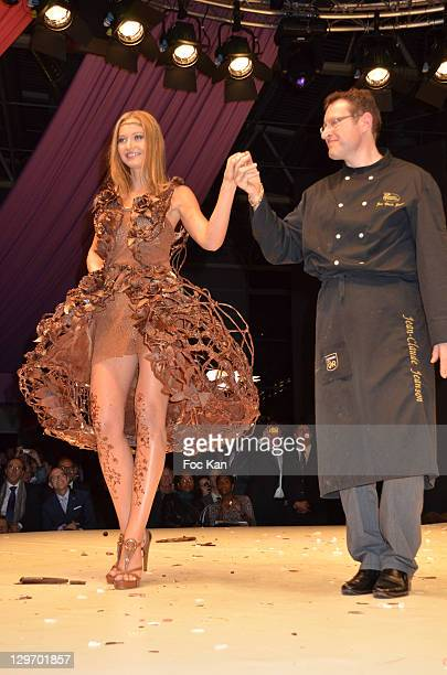 Anca Radici dressed by Jean Claude Jeanson walks the runway during the Salon Du Chocolat 2011 Ð Soiree dÕInauguration at Parc des Expositions Porte...