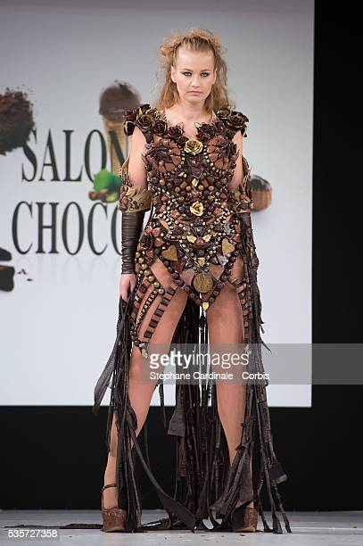 Anca Radici walks the runway during the 'Salon Du Chocolat' Fashion Show on October 29 2014 in Paris France