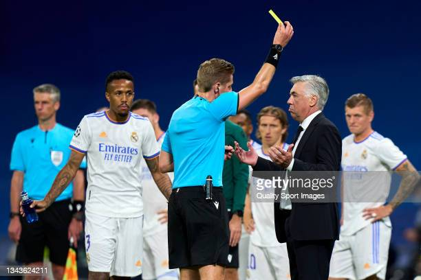 Ancelotti head Coach of Real Madrid gets yellow card during the UEFA Champions League group D match between Real Madrid and FC Sheriff at Estadio...