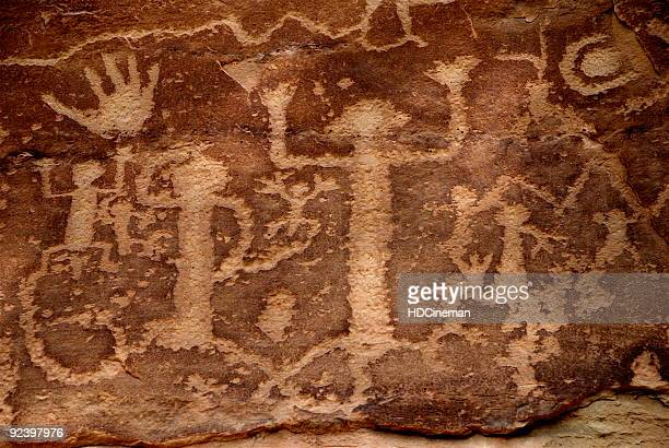 ancestral puebloans (anasazi) petroglyphs - cave paintings - caveman stock photos and pictures