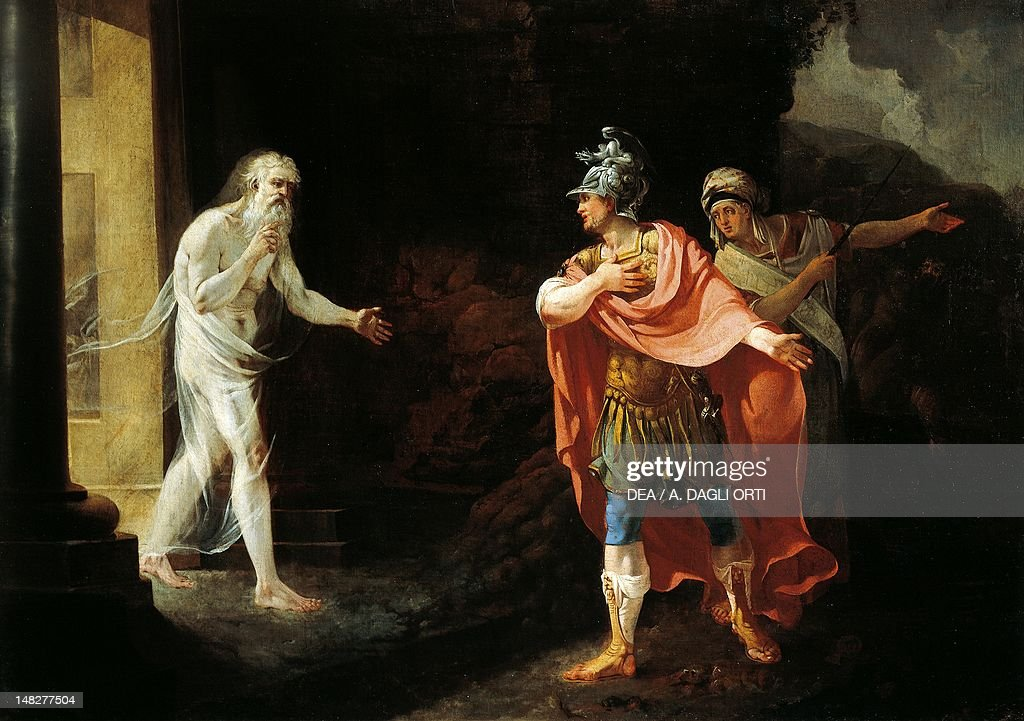 Anchises and the Sibyl Deifobe leading Aeneas' soul to hell, by Biagio Manfredi. (Photo by DeAgostini/Getty Images); Parma, Galleria Nazionale (Art Gallery), Palazzo Della Pilotta.