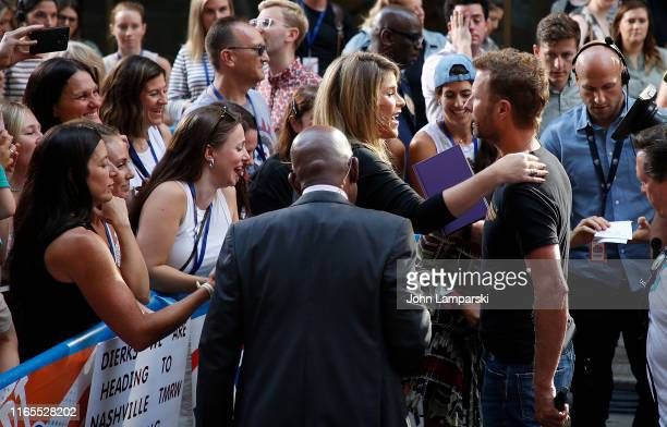 NBC anchor Al Roker and Jenna Bush Hager speak with Dierks Bentley on NBC's Today at Rockefeller Plaza on August 01 2019 in New York City