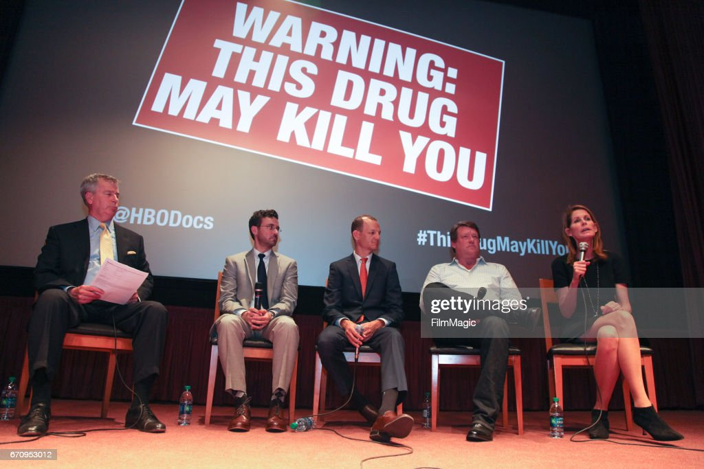 CBS Anchor Allen Martin, Dr. Jeffrey Devido, State Assemblymember Kevin McCarty, Britt Doyle, and filmmaker Perri Peltz speak onstage after the San Francisco premiere of 'Warning: This Drug May Kill You' on April 20, 2017 in San Francisco, California.