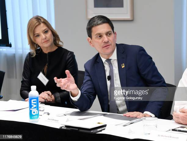 CNN Anchor and Correspondent Christine Romans and International Rescue Committee CEO David Miliband speak at the Business Refugee Action Network...
