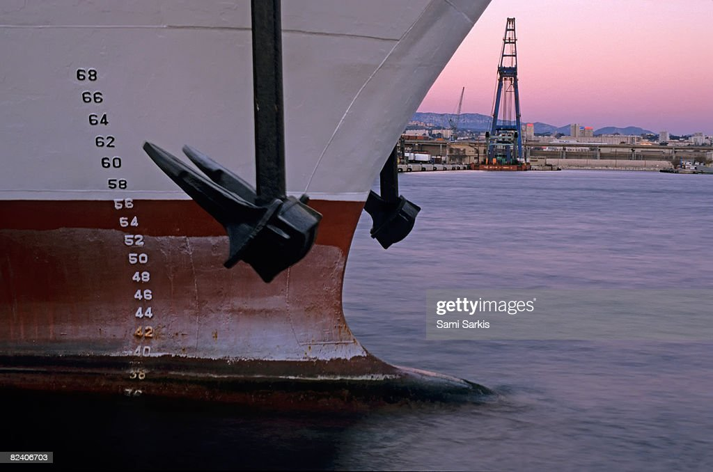 Anchor and Depth Markers of cargo ship, dusk : Stock Photo