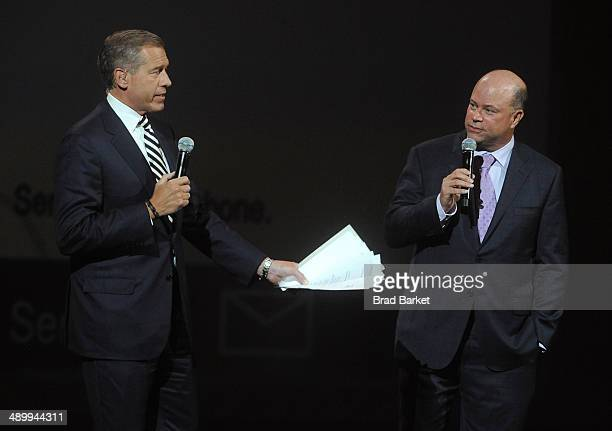 Anchor and managing editor of NBC Nightly News Brian Williams and American hedge fund manager David Teppers speak at The Robin Hood Foundation's 2014...
