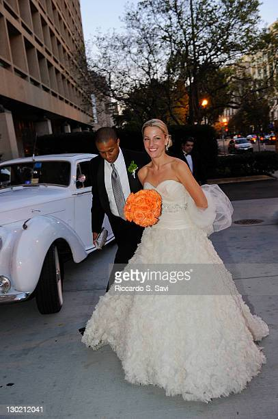 MSNBC anchor and NBC News correspondent Craig Melvin and ESPN sports anchor Lindsay Czarniak walk in to the Hay Adams after their wedding on October...