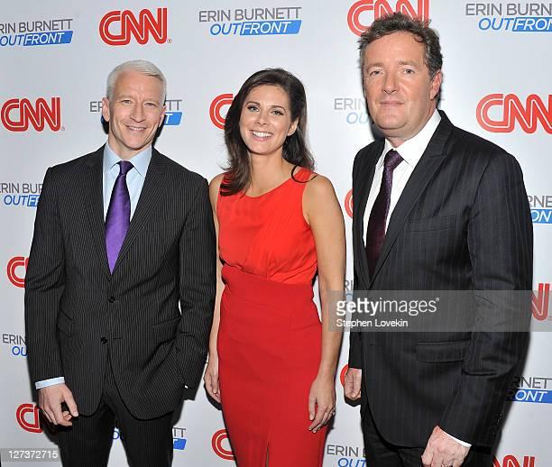 "Anchor Anderson Cooper, CNN anchor Erin Burnett, and CNN host of"" Piers Morgan Tonight"" Piers Morgan attend the launch party for CNN's ""Erin Burnett..."