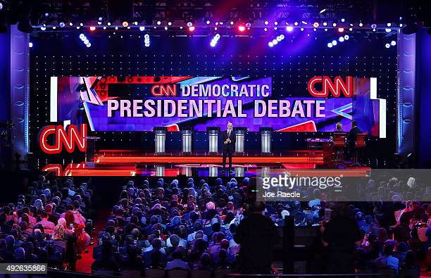 Anchor Anderson Cooper prepares to moderate a Democratic presidential debate sponsored by CNN and Facebook at Wynn Las Vegas on October 13, 2015 in...