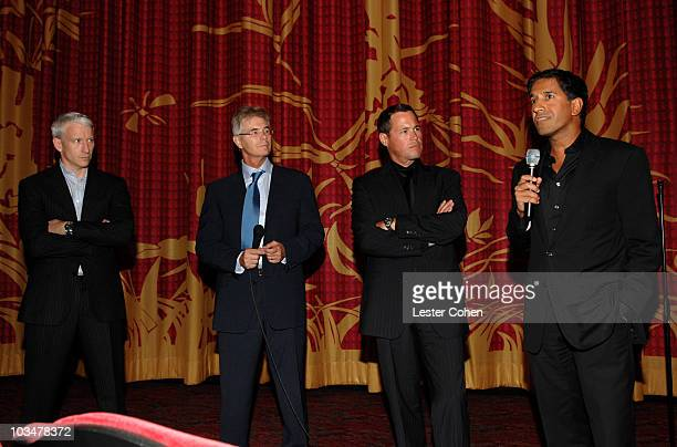 JPG CNN anchor Anderson Cooper senior executive producer David Doss TV host Jeff Corwin and Dr Sanjay Gupta at the premiere of CNN's Planet in Peril...