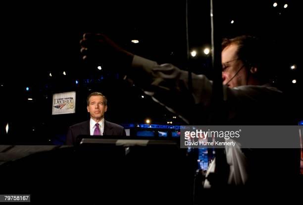 NBC anchor Brian Williams at the presidential debate at Florida Atlantic University January 24 2008 in Boca Raton Florida The debate was sponsored by...