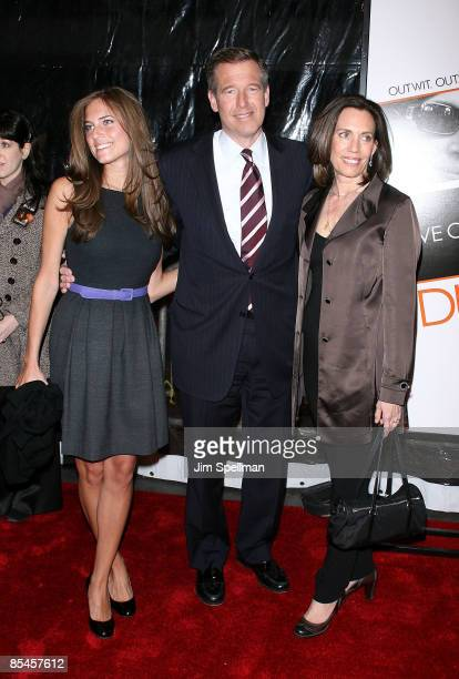 Anchor Brian Williams with his wife Jane Stoddard Williams and daughter Allison Williams attend the premiere of 'Duplicity' at the Ziegfeld Theater...