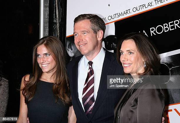 Anchor Brian Williams with his wife Jane Stoddard Williams and daughter Allison Williams attend the premiere of Duplicity at the Ziegfeld Theater on...