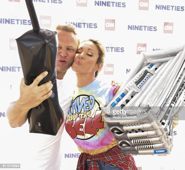 CNN anchor Brooke Baldwin and James Fletcher pose for portrait in photobooth at The Nineties at the Pier presented by CNN at Santa Monica Pier on...