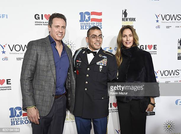 Anchor Chris Cuomo Staff Sergeant US Army Michael Kacer and Christina Greeven Cuomo attend as The New York Comedy Festival and The Bob Woodruff...