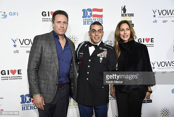 Anchor Chris Cuomo, Staff Sergeant, US Army Michael Kacer and Christina Greeven Cuomo attend as The New York Comedy Festival and The Bob Woodruff...
