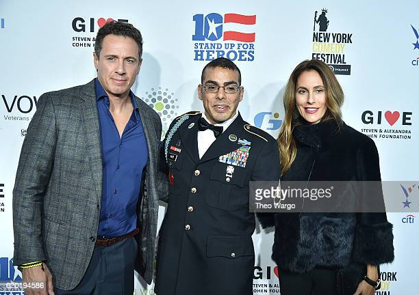 Anchor Chris Cuomo, Staff Sergeant, US Army Michael Kacer and Christina Greeven Cuomo attend 10th Annual Stand Up For Heroes at The Theater at...