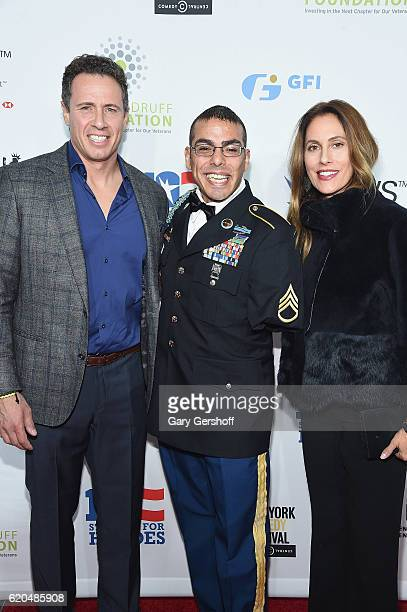 CNN Anchor Chris Cuomo Staff Sergeant US Army Michael Kacer and Christina Greeven Cuomo at The Theater at Madison Square Garden on November 1 2016 in...