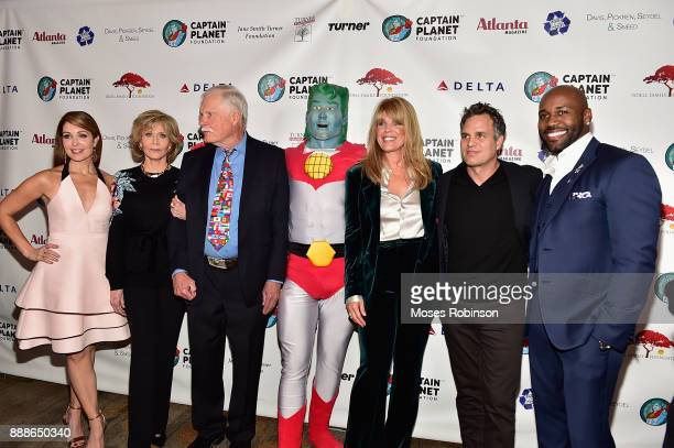 Anchor Christi Paul, actress Jane Fonda,Ted Turner,Captain Planet, Laura Turner Seydel, actor Mark Ruffalo and Dolvett Quince attends the 2017...