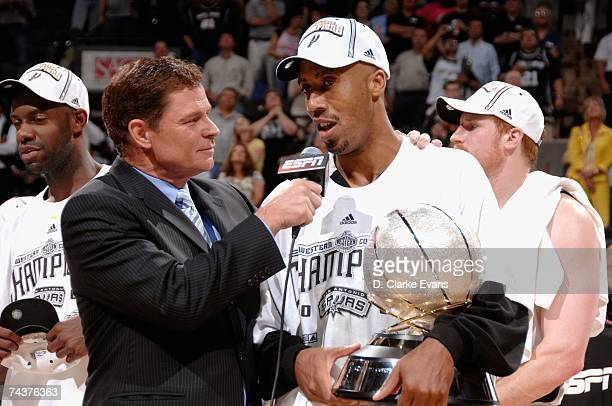 ESPN anchor Dan Patrick interviews Bruce Bowen of the San Antonio Spurs after their win over the Utah Jazz in Game Five of the Western Conference...