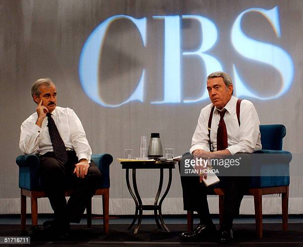 CBS anchor Dan Rather and CBS news division president Andrew Heyword speaks at news conference on the discovery of anthrax at CBS studios 18 October...