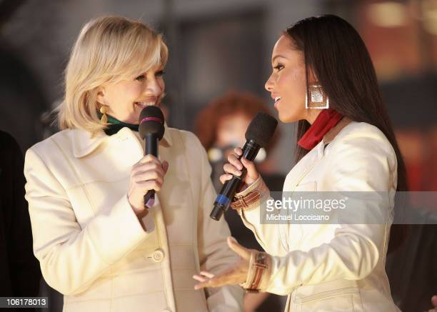 TV anchor Diane Sawyer talks with singer Alicia Keys before she performs on ABC's 'Good Morning America' in New York City's Times Square on November...