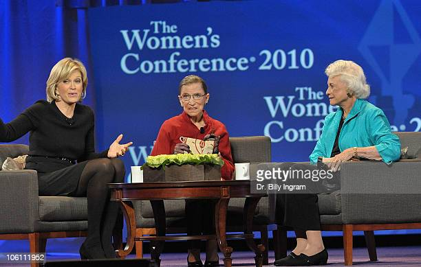 TV Anchor Diane Sawyer with the honorable Ruth Bader Ginsberg and the honorable Sandra Day O'Connor speak on day 3 of Maria Shriver's Women's...