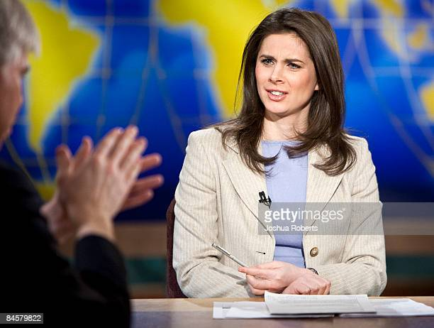 CNBC anchor Erin Burnett speaks as she is interviewed by moderator David Gregory during a taping of Meet the Press at the NBC studios February 1 2009...