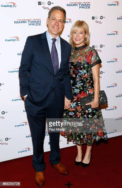 CNN anchor Jake Tapper and his wife Jennifer Marie Brown arrive to the 2017 Mark Twain Prize for American Humor at The Kennedy Center on October 22...
