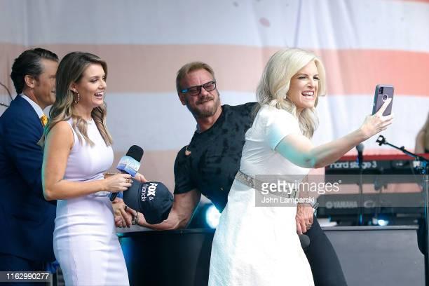 FOX anchor Jillian Mele and meteorologist Janice Dean join Phil Vassar as performs on FOX Friends AllAmerican Summer Concert Series on July 19 2019...
