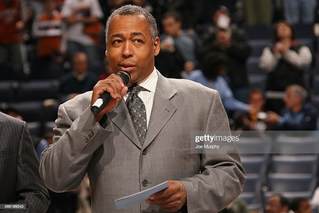 Anchor, John Saunders speaks to the crowd before the Phoenix Suns game against the Memphis Grizzlies on January 15, 2007 at FedExForum in Memphis, Tennessee.