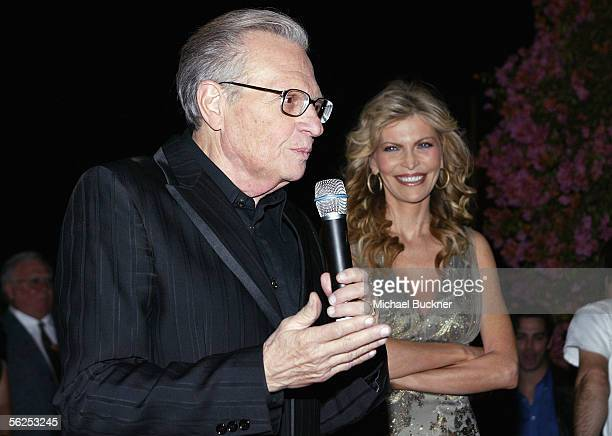 Anchor Larry King and singer Shawn King attend the Shawn King CD listening series release of 'In My Own Backyard' at Skybar on November 21 2005 in...
