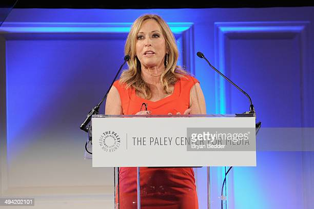 ESPN anchor Linda Cohn speaks on stage at the Paley Prize Gala honoring ESPN's 35th anniversary presented by Roc Nation Sports on May 28 2014 in New...